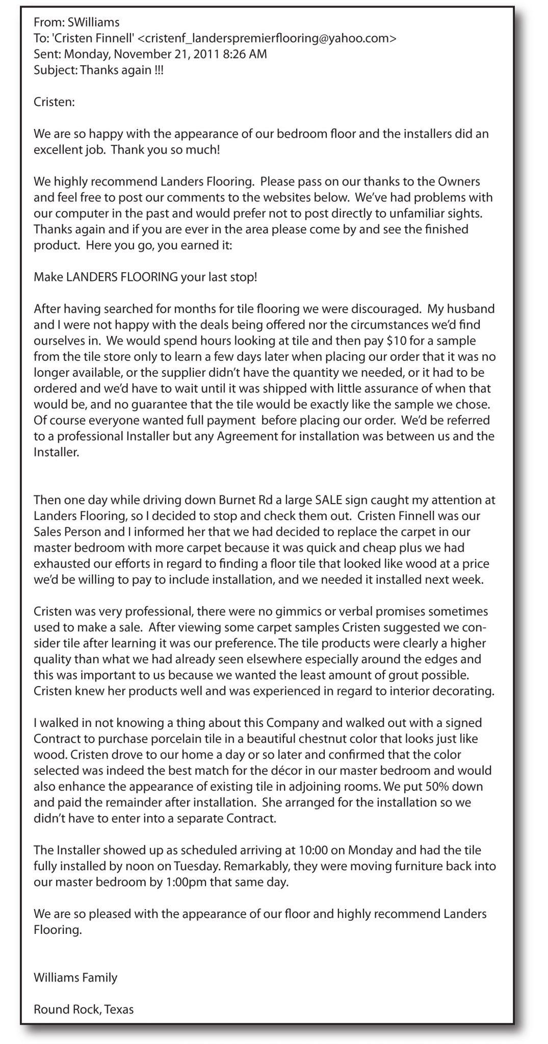 Letters of Recommendation | Landers Premier Flooring